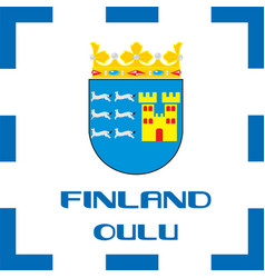 National ensigns flag and emblem of finland - oulu vector