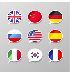 nine colorful speech bubbles with flags different vector image vector image