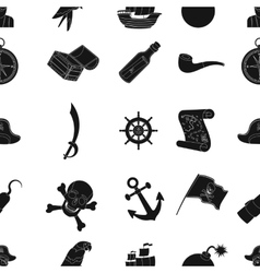 Pirates pattern icons in black style Big vector image