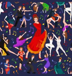 seamless pattern dancing people dancer bachata vector image