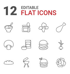 12 nutrition icons vector