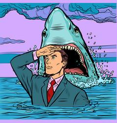 A successful businessman is not afraid shark vector