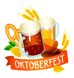 Ale beer oktoberfest logo isometric style vector