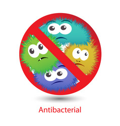 Antibacterial sign with a funny cartoon bacteria vector