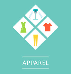 apparel shop icon set in flat design vector image