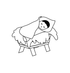 baby jesus christ in the manger outline figure vector image