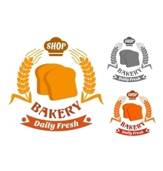 Bakery shop symbol with golden crispy toasts vector