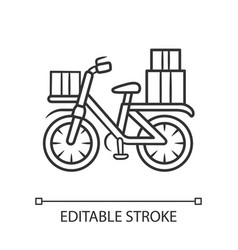 Bicycle delivery linear icon bike with parcel vector