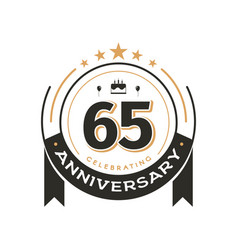 birtday vintage logo template to 65 th anniversary vector image