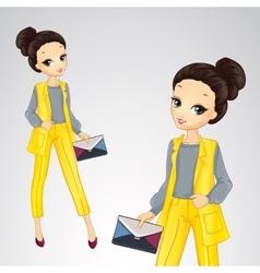 Bisness Girl In Yellow Suit vector