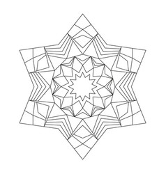 Black and white circular round star mandala star vector