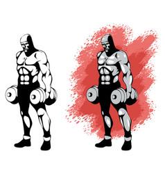 Bodybuilder in two variants vector