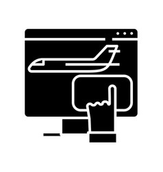 booking plane tickets black icon concept vector image