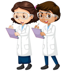 Boy and girl in science gown writing notes vector