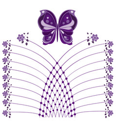 butterflies and flourishes with flowers vector image