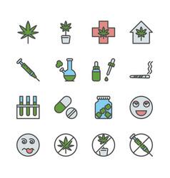 Cannabis in colorline icon set design vector