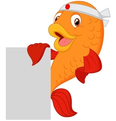 Cartoon chef fish holding blank sign vector