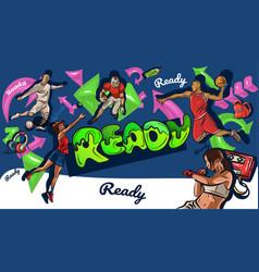 cartoon graffiti style sports collage graffiti vector image