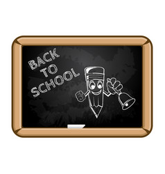Cartoon pencil with bell and text back to school vector