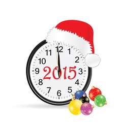 Christmas clock 2015 color vector