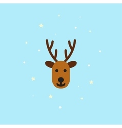 Christmas deer Icon in flat style - vector image