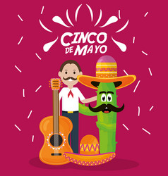 cinco de mayo celebration with man and cactus vector image