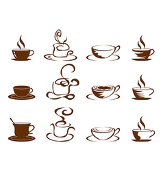 coffee cups icon set vector image