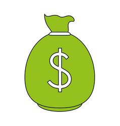 color contour cartoon green money bag with dollar vector image