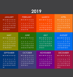 colorful calendar for 2019 year week starts vector image
