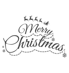 Colourless merry christmas greeting card with text vector