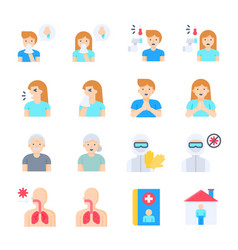 Coronavirus disease 2019 related icon set 1 flat vector
