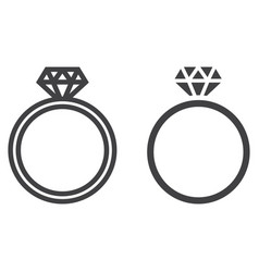 diamond ring line and glyph icon vector image