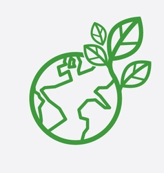 Earth With Green Leaves Saving Energy Concept Vect vector image