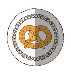 Emblem pretzel bread icon vector