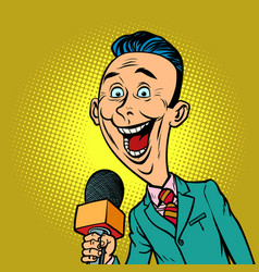 Enthusiastic joyful reporter correspondent vector