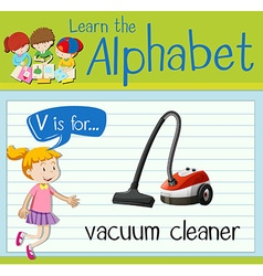Flashcard letter V is for vacuum cleaner vector image