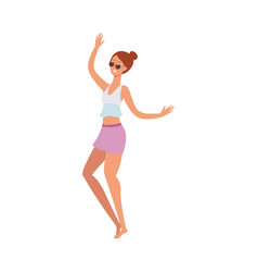 flat cute girl dancing at beach party vector image