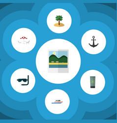 flat icon season set of coconut boat scuba vector image