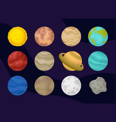 flat set of planets of solar system space vector image