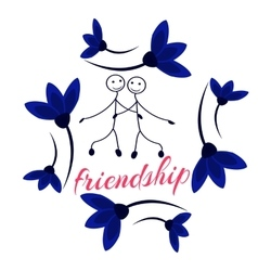 Frame with Friendship Day title children friends vector image