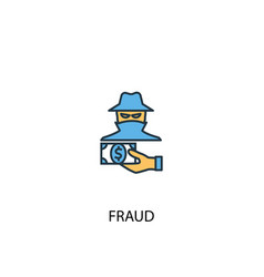 fraud concept 2 colored line icon simple yellow vector image