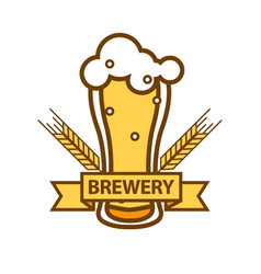 Glass of foamy beer with barley ears flat design vector