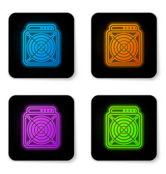 glowing neon asic miner icon isolated on white vector image