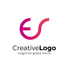 gradient circular initial letter e and s business vector image