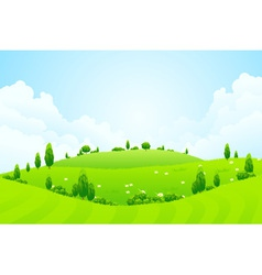 Green background with grass trees flowers and hill vector