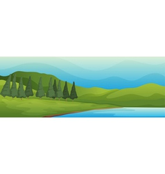 Green landscape and lake vector