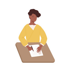 Happy black woman write paper document sitting on vector
