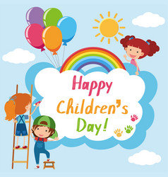 Happy childrens day poster with kids in sky vector