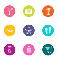Hot day icons set flat style vector