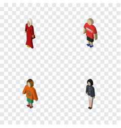 Isometric people set of lady girl female and vector